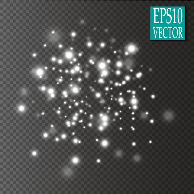 Conjunto de efeitos de luzes brilhantes douradas isolado em fundo transparente. Vetor Premium