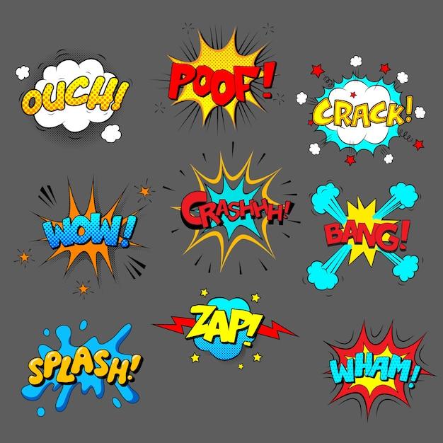 Conjunto de efeitos sonoros em quadrinhos, imagens coloridas com texto Vetor Premium