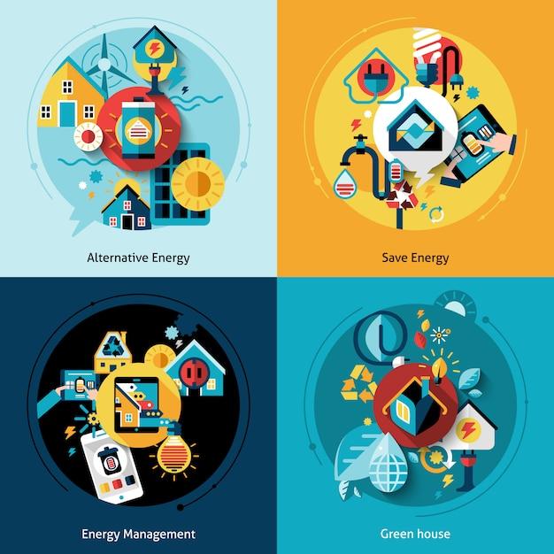 Conjunto de eficiência energética Vetor grátis
