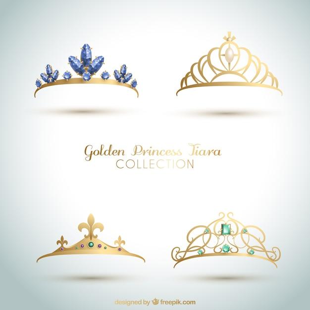 Conjunto de elegantes coroas de princesa Vetor grátis