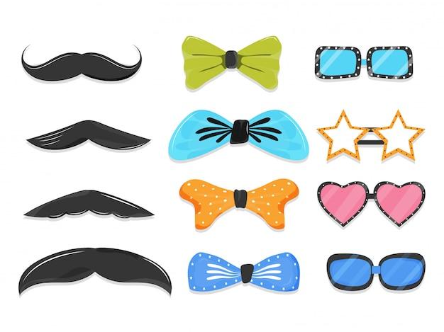 Conjunto de elemento de adereços de festa como bigode, gravata borboleta, óculos em estilo diferente. Vetor Premium