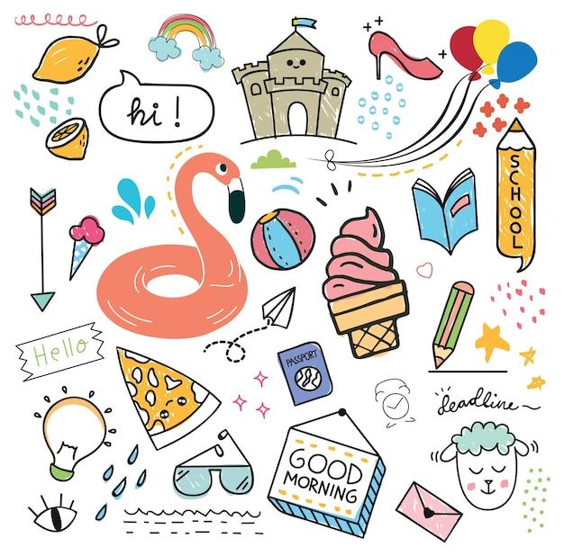 Conjunto de elemento de design e ícone no estilo doodle Vetor Premium