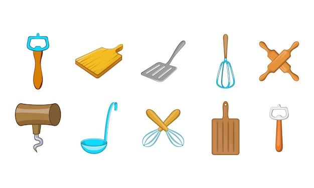 Conjunto de elemento de ferramentas de cozinha. conjunto de desenhos animados de elementos do vetor de ferramentas de cozinha Vetor Premium