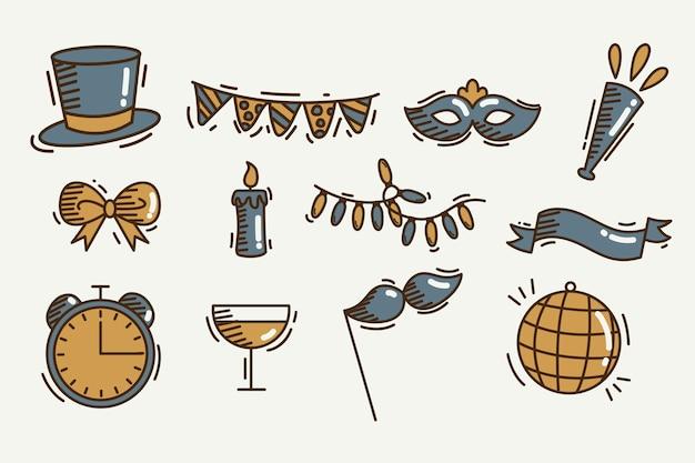 Conjunto de elemento de festa vintage ano novo Vetor grátis