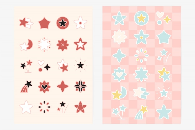 Conjunto de elemento de forma de estrela bonito Vetor grátis