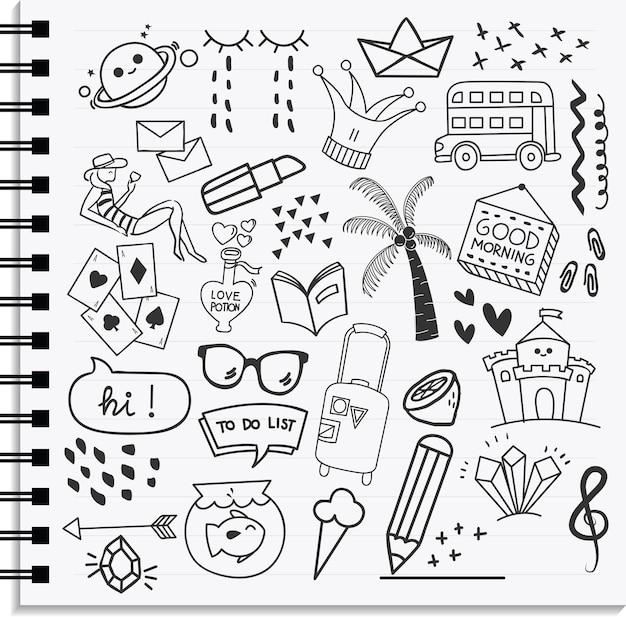 Conjunto de elemento de ícone e design estilo de doodle desenhado na mão Vetor Premium