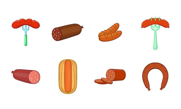 Conjunto de elemento de salsicha. conjunto de desenhos animados de elementos do vetor de salsicha Vetor Premium