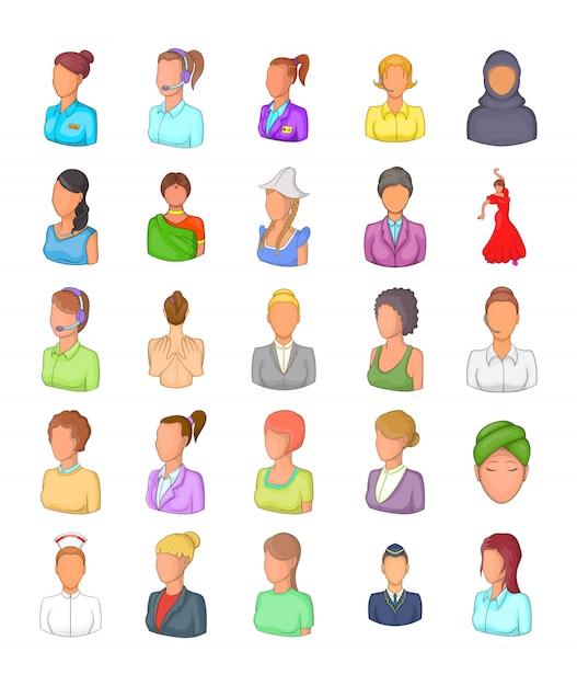 Conjunto de elemento de silhueta de mulher. conjunto de desenhos animados de elementos do vetor silhueta de mulher Vetor Premium