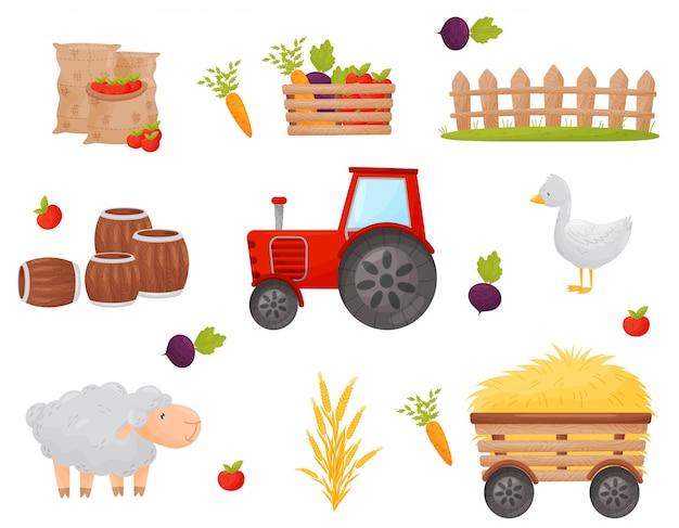 Conjunto de elemento do agricultor. legumes e animais da fazenda. ilustrações. Vetor Premium