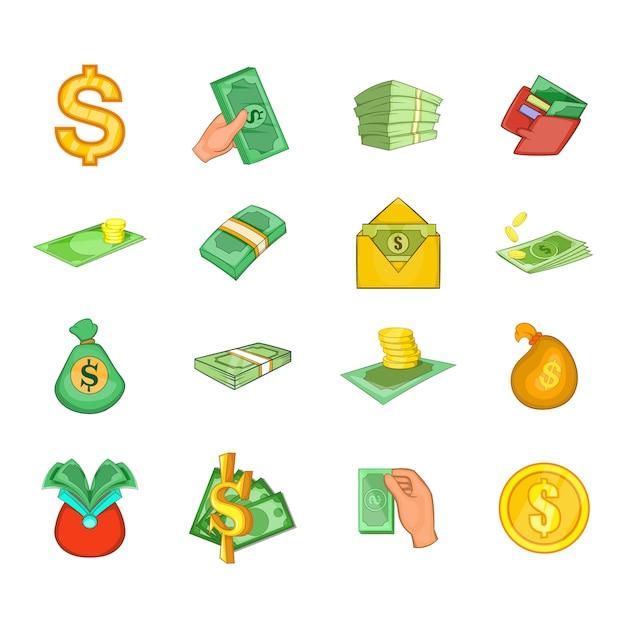 Conjunto de elemento do dólar. conjunto de desenhos animados de elementos do vetor de dólar Vetor Premium
