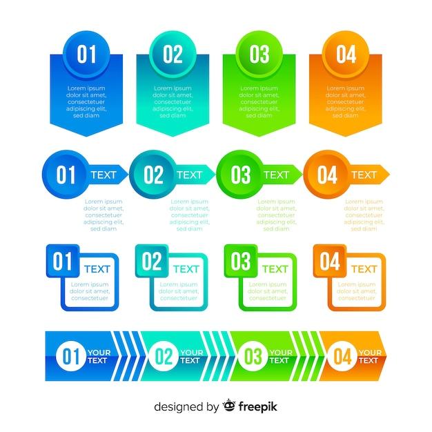 Conjunto de elemento infográfico gradiente Vetor grátis