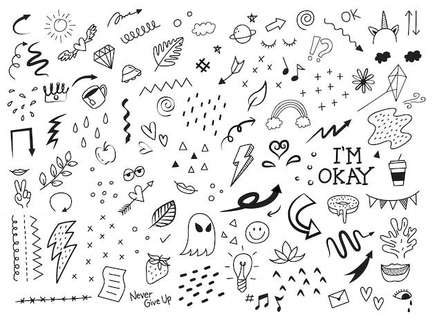 Conjunto de elementos abstratos doodle Vetor Premium