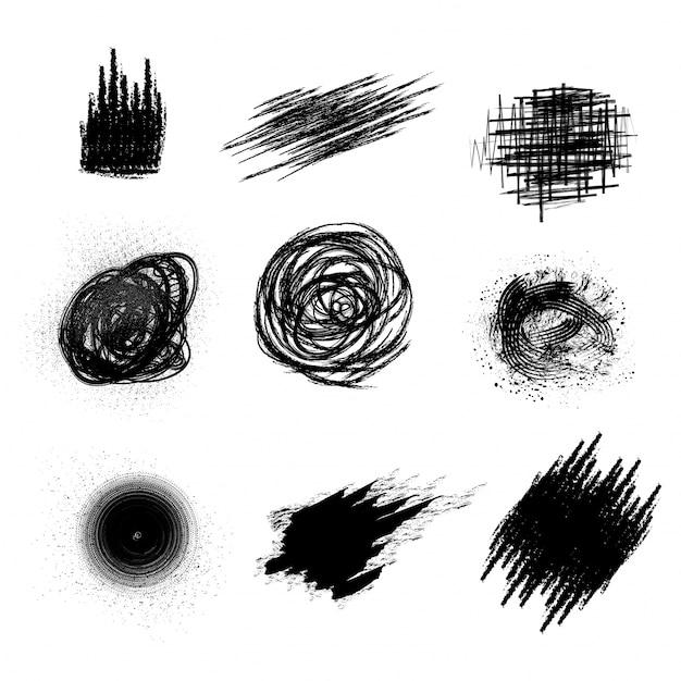 Conjunto de elementos abstratos em preto como pinceladas, respingos ou manchas de cor de água. Vetor grátis