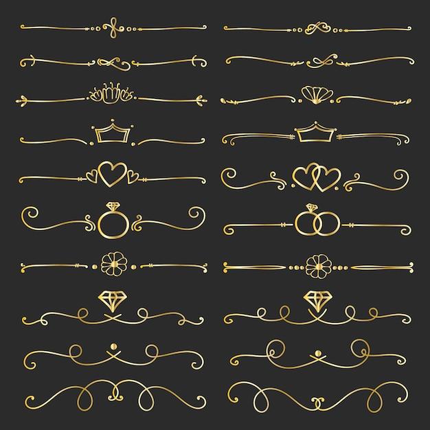 Conjunto de elementos caligráficos decorativos dourados para a decoração. Vetor Premium