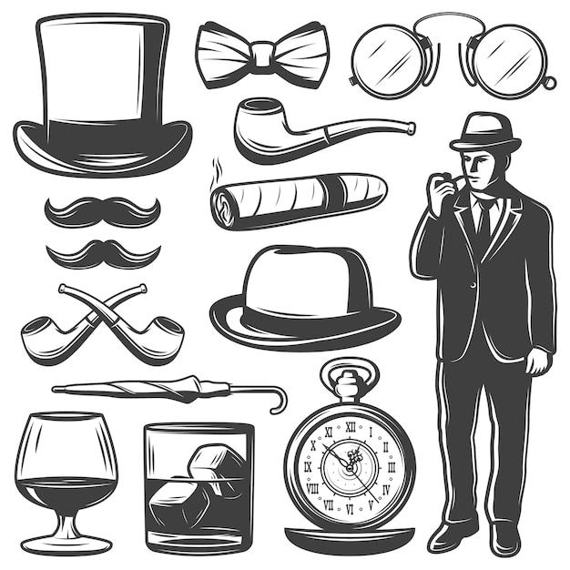Conjunto de elementos cavalheiros vintage Vetor grátis