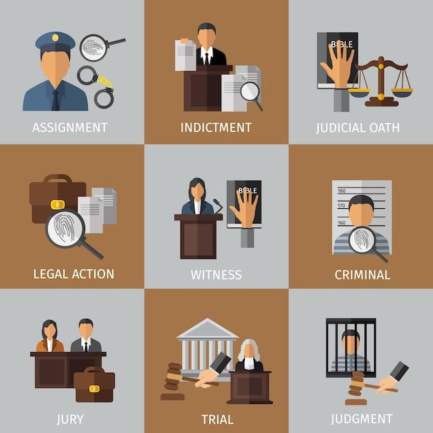 Conjunto de elementos coloridos do sistema judicial Vetor grátis