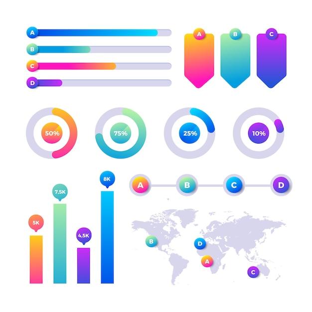 Conjunto de elementos coloridos e gradiente infográfico Vetor grátis
