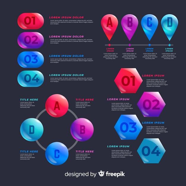 Conjunto de elementos coloridos infográfico Vetor grátis