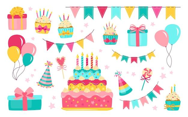 Conjunto de elementos de aniversário. alimentos e doces de celebração de balões coloridos. bolo de presente de desenho animado, vela, caixa de presente, bolinho. elementos de design plano de festa, balões, sobremesa de doces. ilustração isolada Vetor Premium