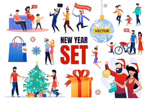 Conjunto de elementos de ano novo Vetor Premium