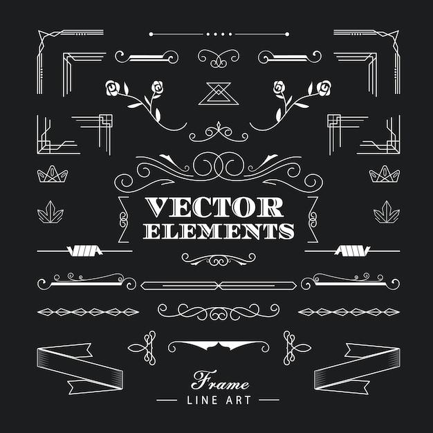 Conjunto de elementos de arte deco linha linear fina retrô vintage Vetor Premium