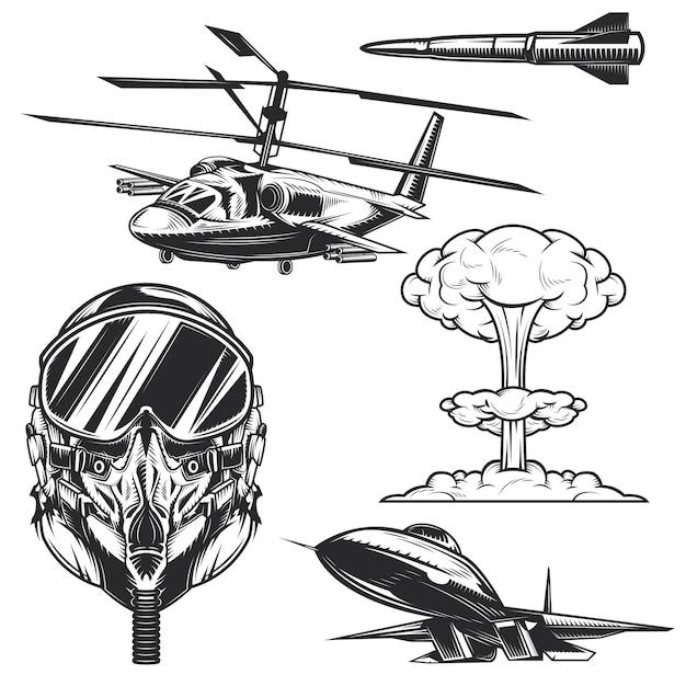 Conjunto de elementos de aviação para criar seus próprios emblemas, logotipos, etiquetas, pôsteres etc. Vetor Premium