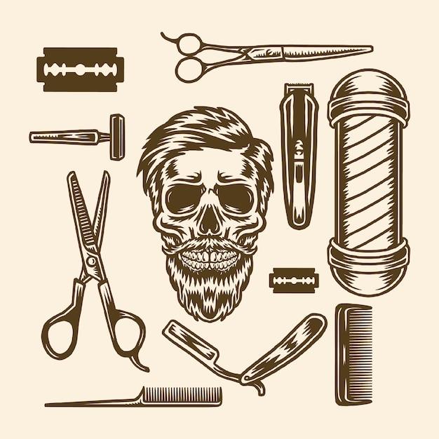 Conjunto de elementos de barbearia Vetor Premium