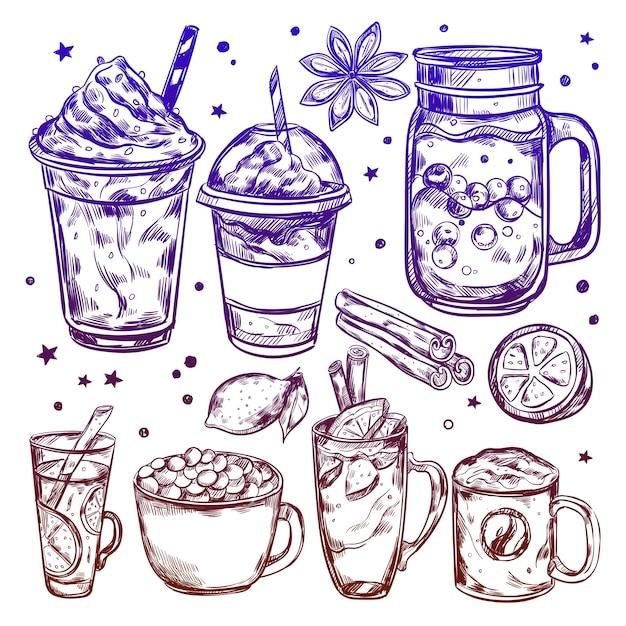 Conjunto de elementos de bebidas quentes de inverno Vetor grátis