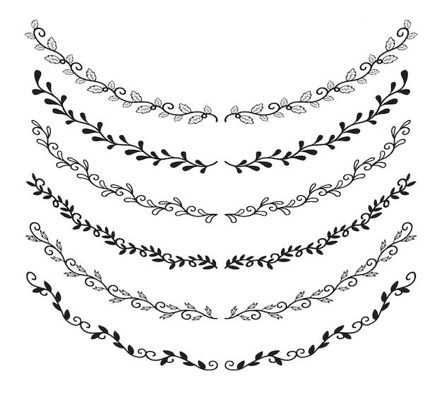 Conjunto de elementos de bordas de mão desenhada Vetor Premium