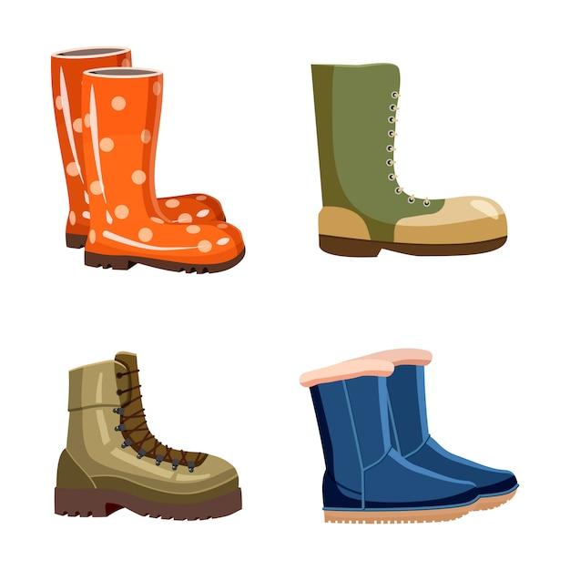 Conjunto de elementos de botas. conjunto de desenhos animados de botas Vetor Premium