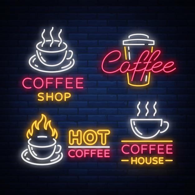 Conjunto de elementos de café e acessórios para café. logotipos de café, emblemas em estilo neon, café de publicidade barulhento. Vetor Premium