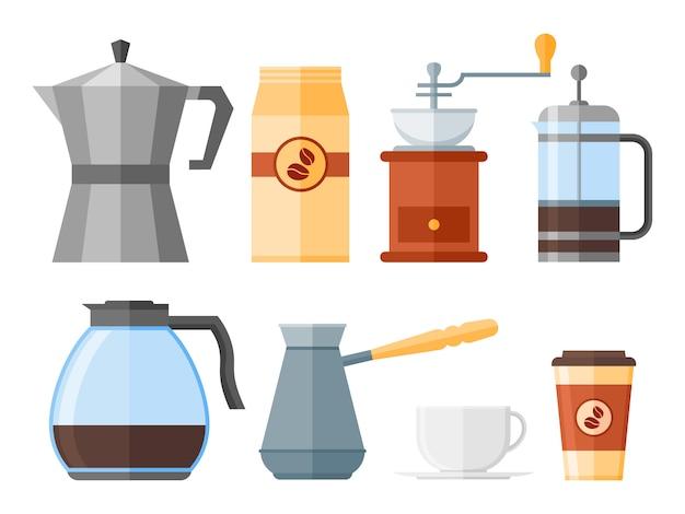 Conjunto de elementos de café isolado no fundo branco. imprensa francesa, cafeteiras, xícara, panela, moedor e embalagens. ícones de estilo simples Vetor Premium