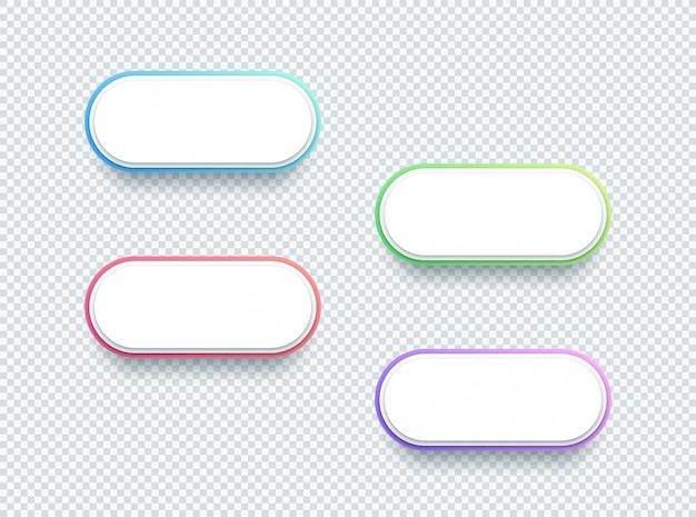 Conjunto de elementos de caixa de texto branco de forma 3d vetor de quatro Vetor Premium