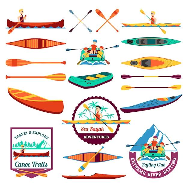Conjunto de elementos de canoagem e caiaque rafting Vetor grátis
