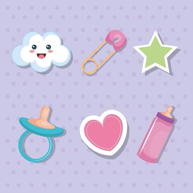 Conjunto de elementos de cartão de chuveiro de bebê Vetor grátis