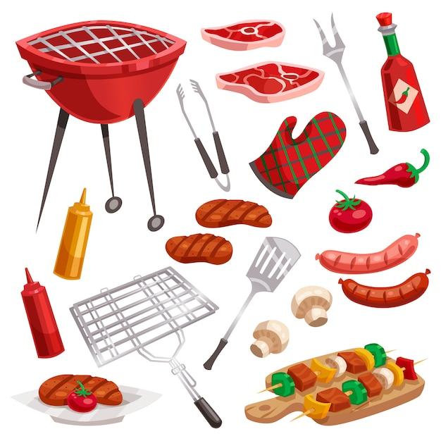 Conjunto de elementos de churrasqueira Vetor grátis