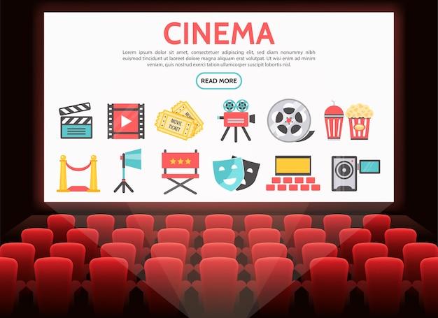 Conjunto de elementos de cinema plano com rolo de filme ingressos câmera de filme refrigerante pipoca ripa tapete vermelho Vetor grátis