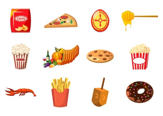 Conjunto de elementos de comida. conjunto de desenhos animados de comida Vetor Premium