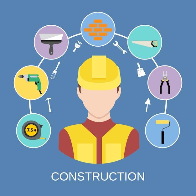 Conjunto de elementos de construtor de engenheiro Vetor grátis
