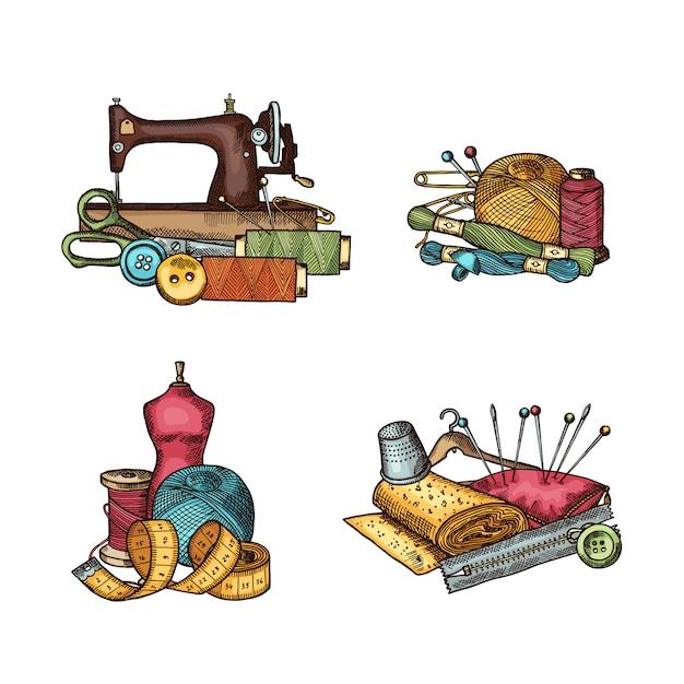 Conjunto de elementos de costura de mão desenhada conjunto de pilha, agulha e linha, botão e tesoura Vetor Premium