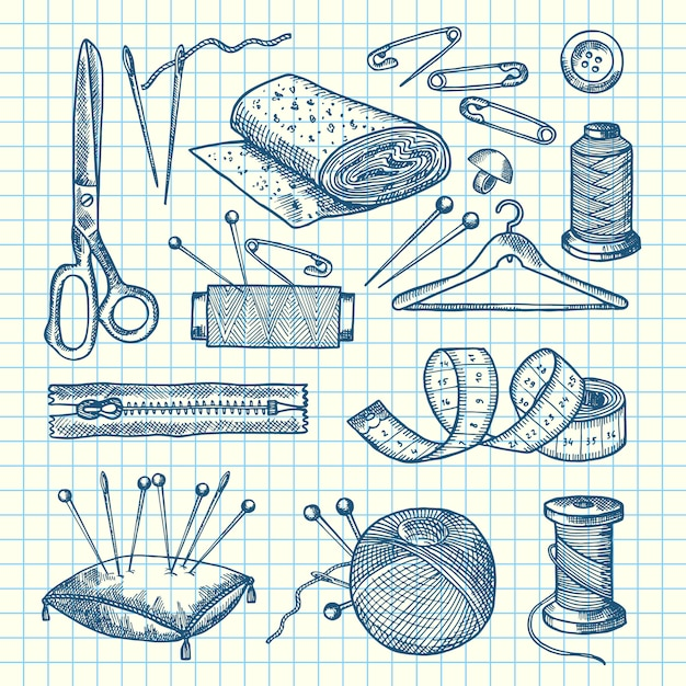 Conjunto de elementos de costura mão desenhada isolado na ilustração de folha de célula Vetor Premium