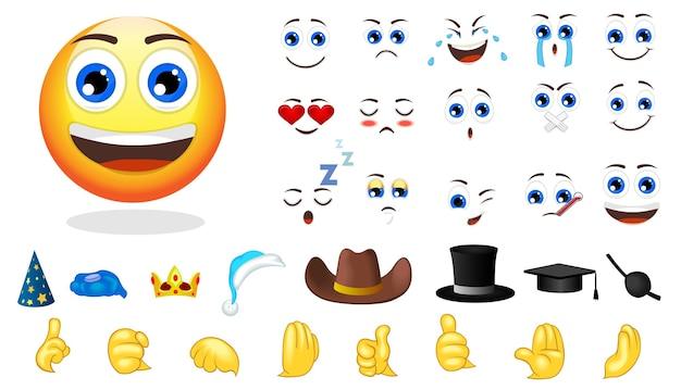 Conjunto de elementos de criação de emoções de desenho animado Vetor grátis