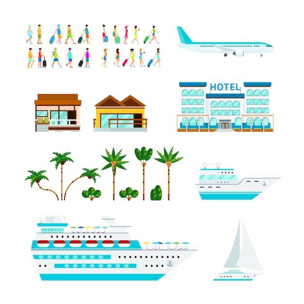 Conjunto de elementos de cruzeiro tropical Vetor grátis