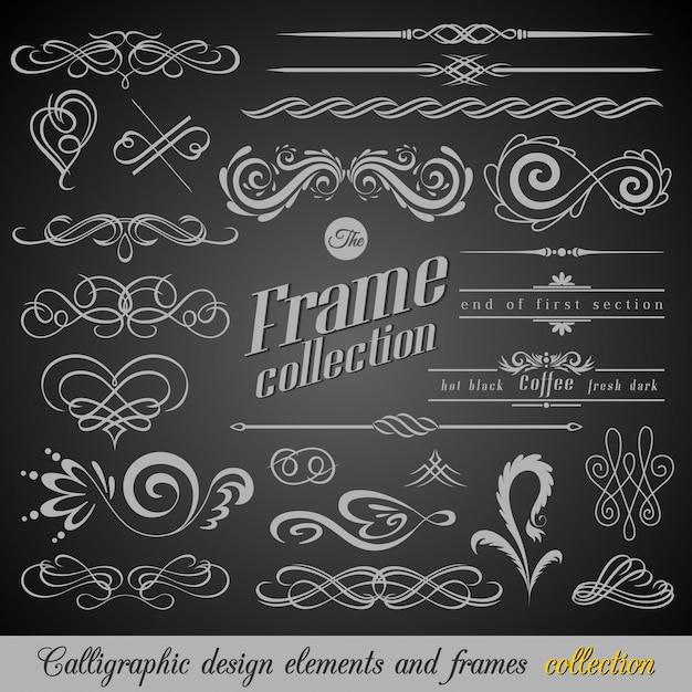 Conjunto de elementos de decorações de página vintage Vetor Premium