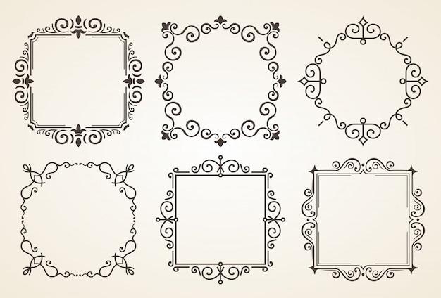 Conjunto de elementos de decorações vintage vitorianas e quadros Vetor Premium