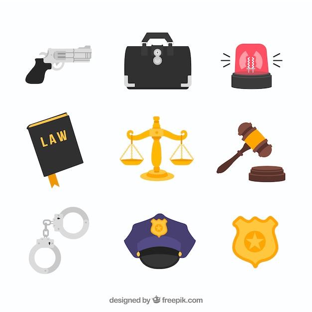 Conjunto de elementos de derecho e justicia Vetor Premium