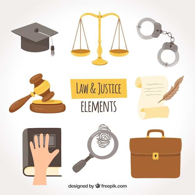 Conjunto de elementos de derecho e justicia Vetor grátis