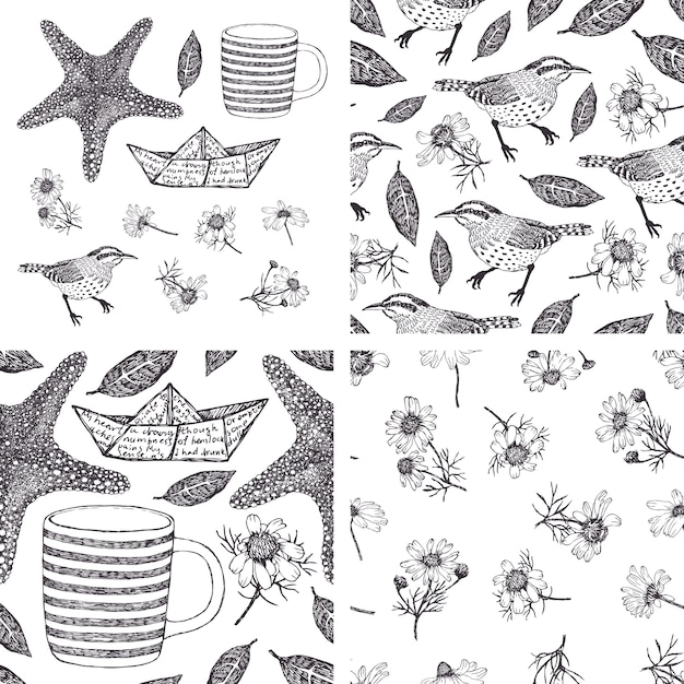 Conjunto de elementos de desenho desenhados à mão e padrões com camomilas, aves e estrelas do mar Vetor grátis