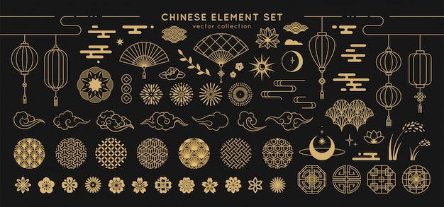 Conjunto de elementos de design asiático. Vetor Premium