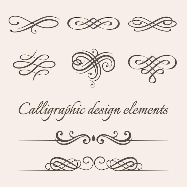 Conjunto de elementos de design de decoração caligráfica e página. Vetor Premium